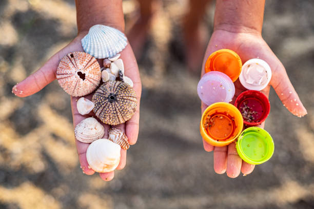 close up hands holding plastics and sea shells - ocean plastic stock pictures, royalty-free photos & images