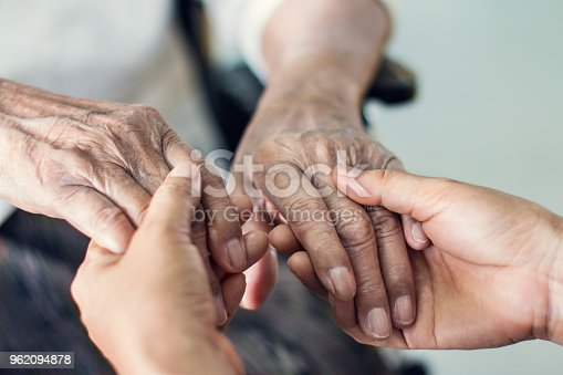 istock Close up hands of helping hands elderly home care. Mother and daughter. Mental health and elderly care concept 962094878