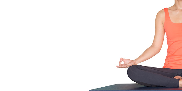 Close up hands of master yoga seated doing Hand Mudra and meditates isolated white background.wellness and healthy lifestyle,leave space for adding text.