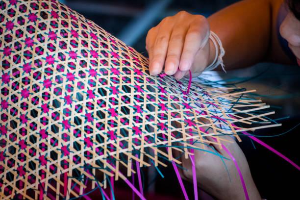 Close up Hands  weaving a woven mat   Thai's artwork. stock photo