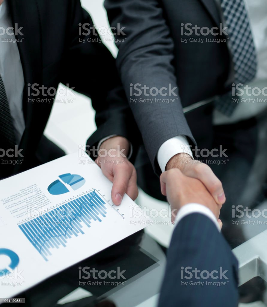 close up. handshake business colleagues stock photo
