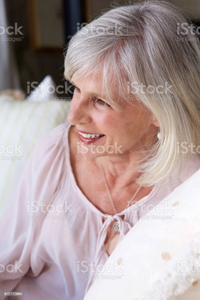 Close up happy older woman smiling stock photo