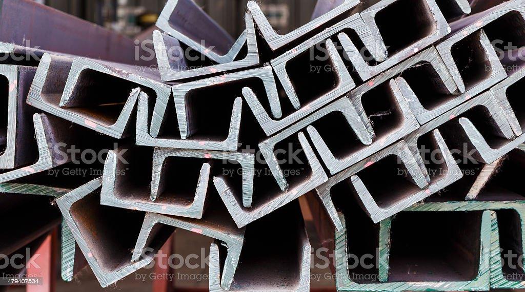 Close up heap of U shape beam steel stock photo