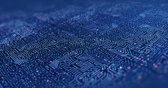 Close Up High Tech Circuit Board. Futuristic Technology. Computer And Technology Related 3D Illustration Render
