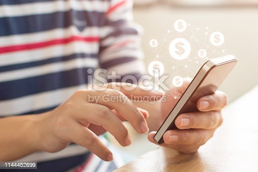 istock Close up image hand using mobile phone with online transaction application, Concept financial technology (fintech) 1144452699