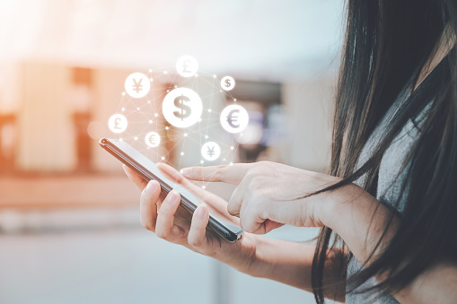 istock Close up image hand using mobile phone with online transaction application, Concept financial technology (fintech) and ICO Initial coin offering business financial internet innovation technology 1156412412