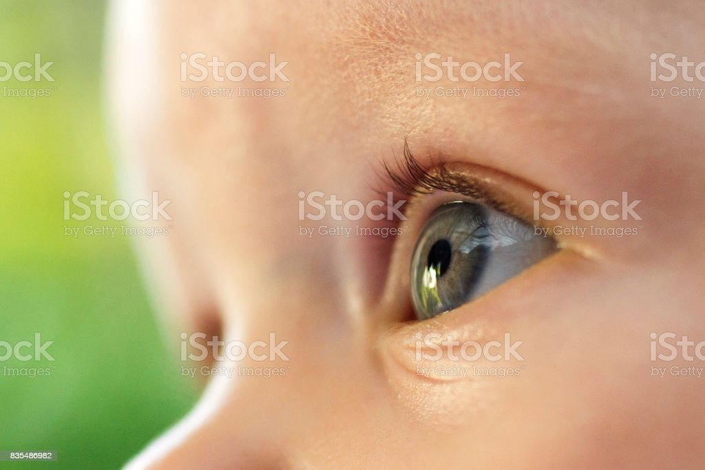 A close up image of a babies eye stock photo