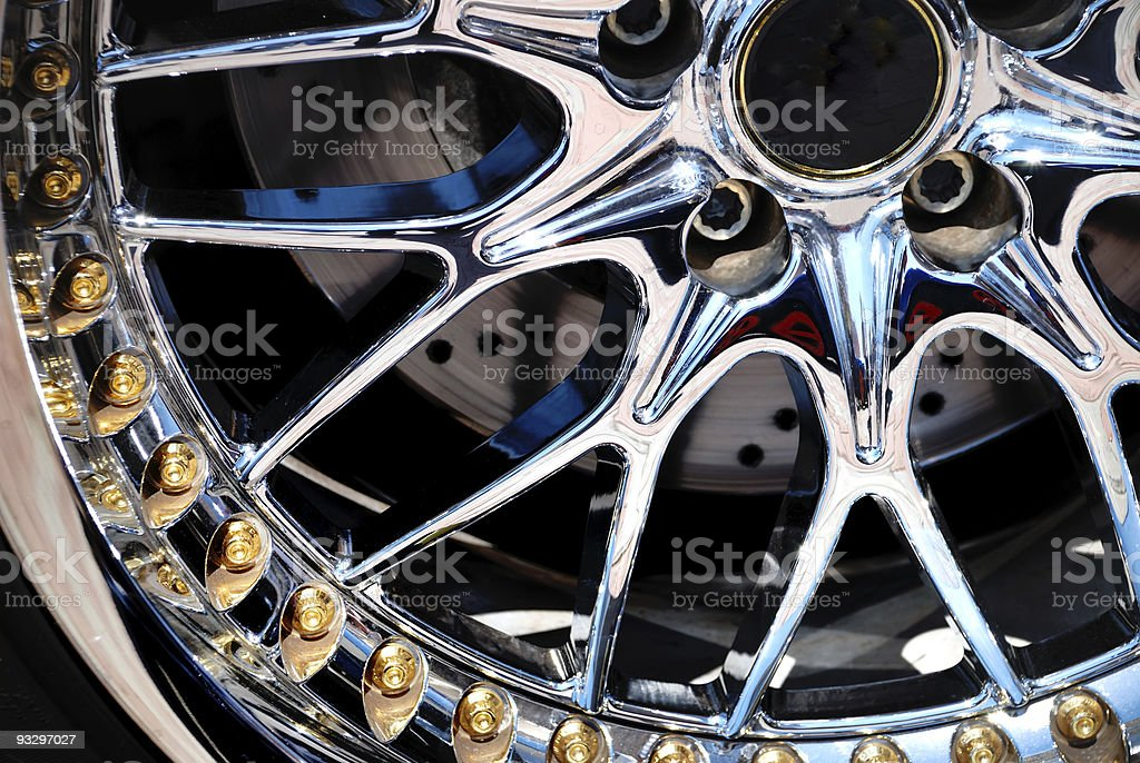 Close up image of a chrome plated rim of a wheel stock photo