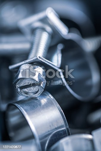 Close up image of a group of Jubilee Clips or Hose Clipswith a shallow depth of field.