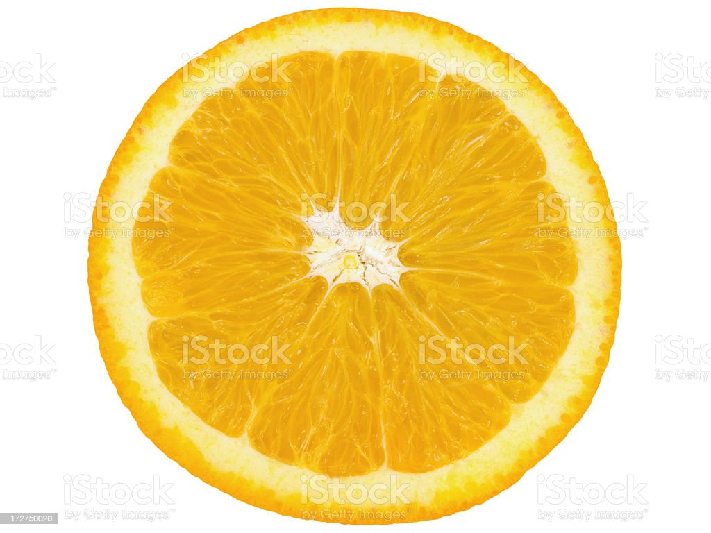 Close up image of a slice of an orange stock photo