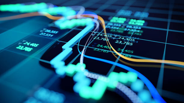 close up image of a stock market graph - borsa foto e immagini stock