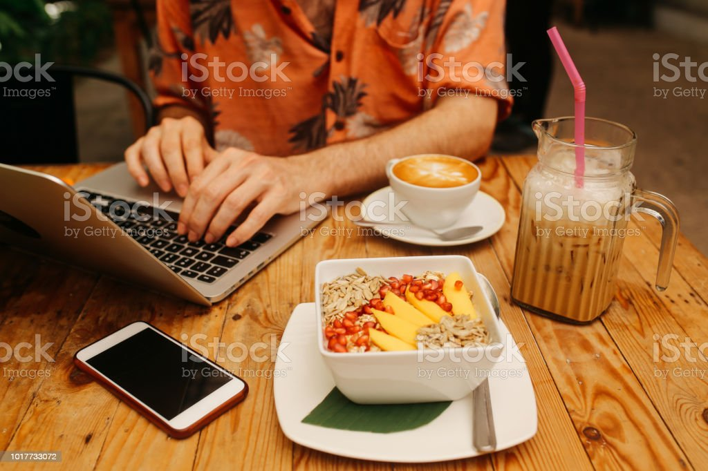Close Up Image Of A Young Freelancer Man Doing Online Work