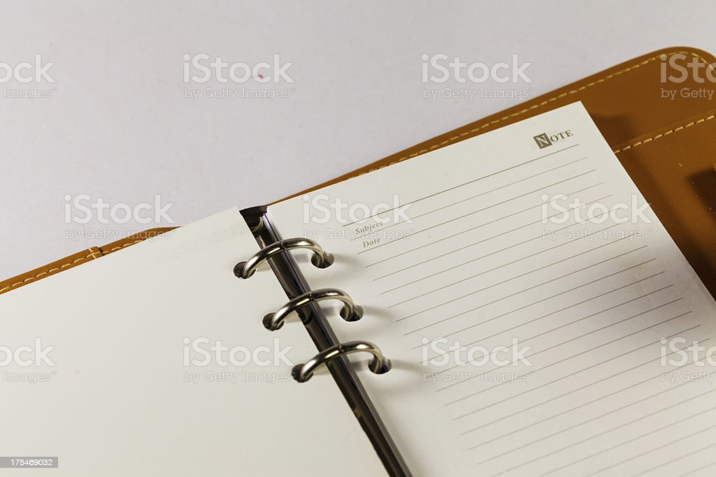 Close up image of blank note book organizer royalty-free stock photo