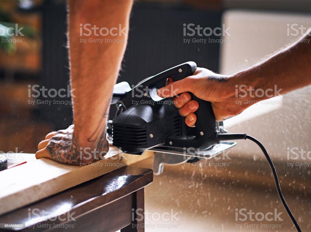 Close up image of circular handsaw. stock photo