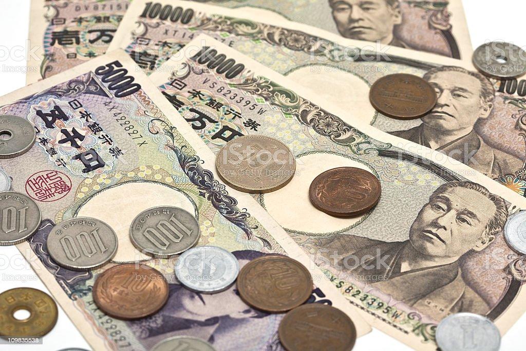 Close up image of Japanese Yen on a white background stock photo