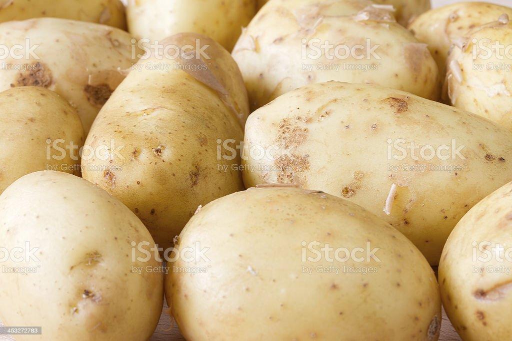 Close up image of Jersey Royal new potatoes stock photo