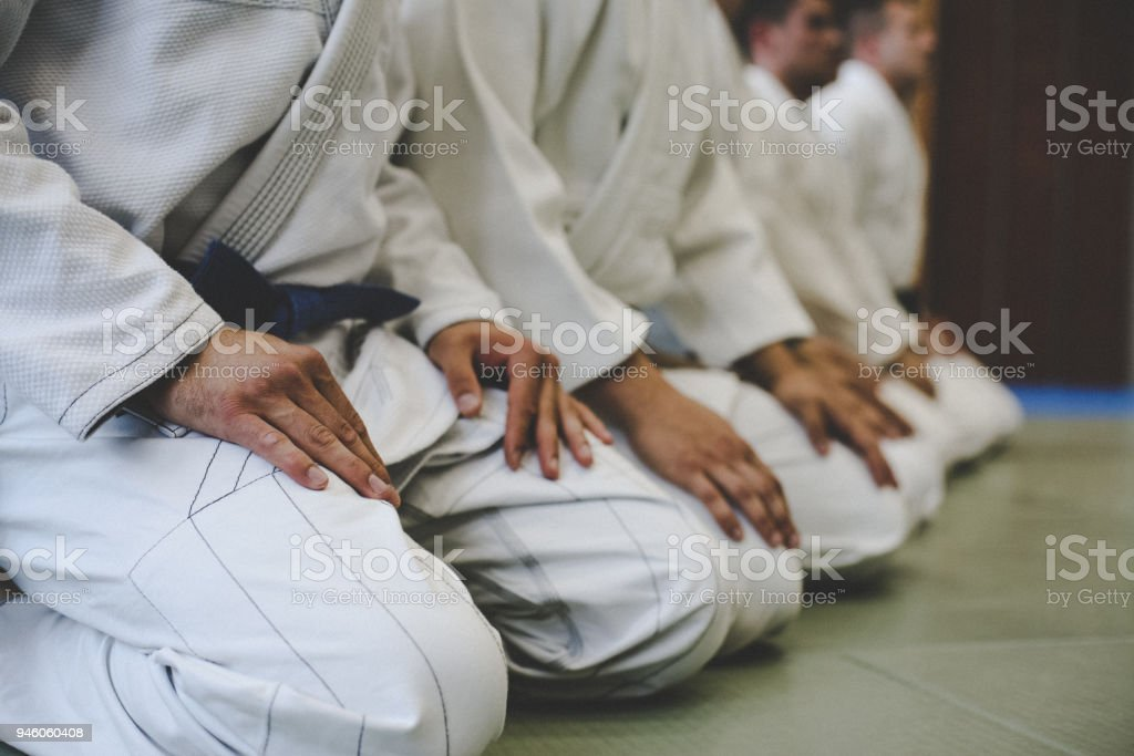 Close up image of judo Males. stock photo