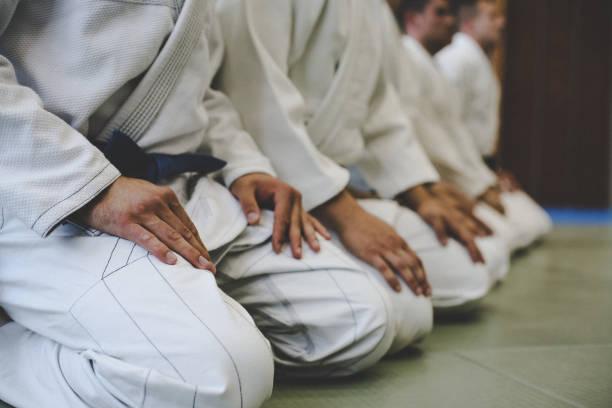 schließen sie herauf bild des judo männer. - asiatischer kampfsport stock-fotos und bilder