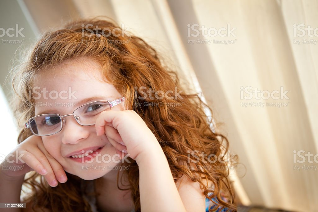 Close Up Image of Little Girl With Curly, Red Hair royalty-free stock photo