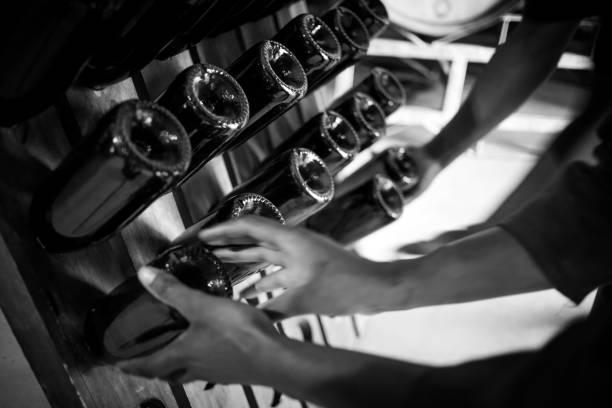 schließen sie herauf bild vieler champagnerflaschen in ein flaschenregal in einem weinkeller - keller organisieren stock-fotos und bilder