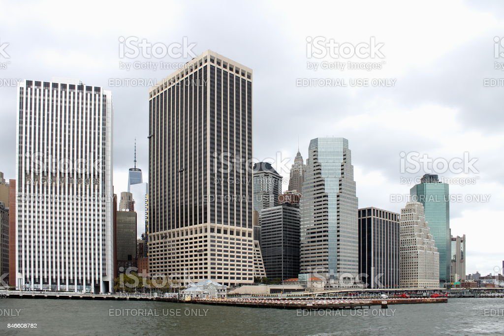 Close up image of Manhattan buildings lining the East River. stock photo