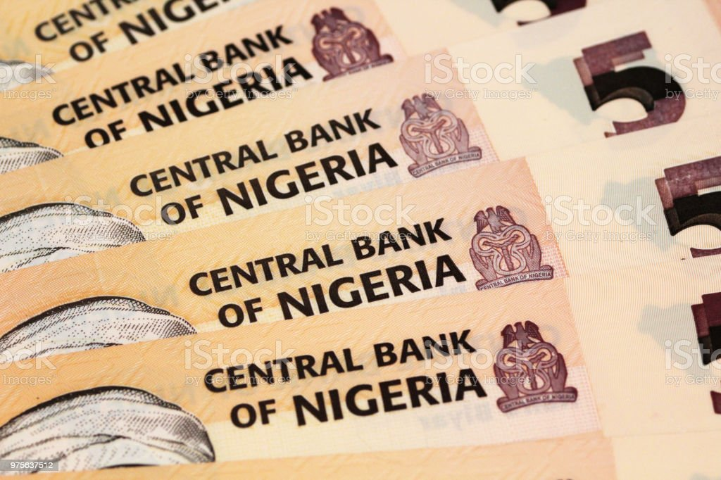 A close up image of Nigerian money stock photo