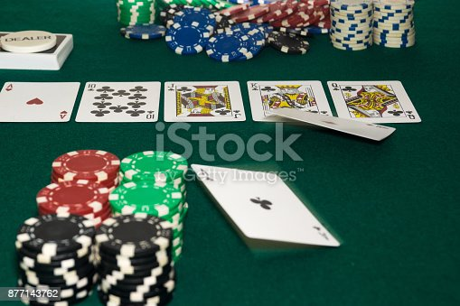 istock A close up image of stacked poker chips and a royal flush. A textured background.Copy paste place 877143762