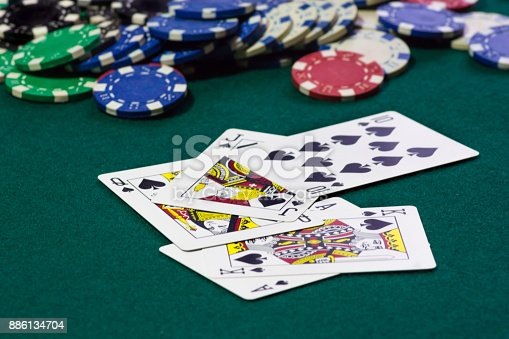 istock A close up image of stacked poker chips and a royal flush. A textured background.Copy paste place 886134704