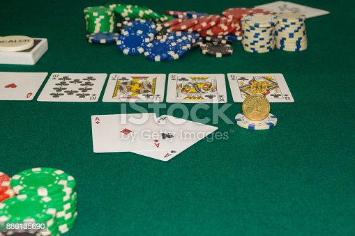istock A close up image of stacked poker chips and a royal flush. A textured background.Copy paste place 886135690