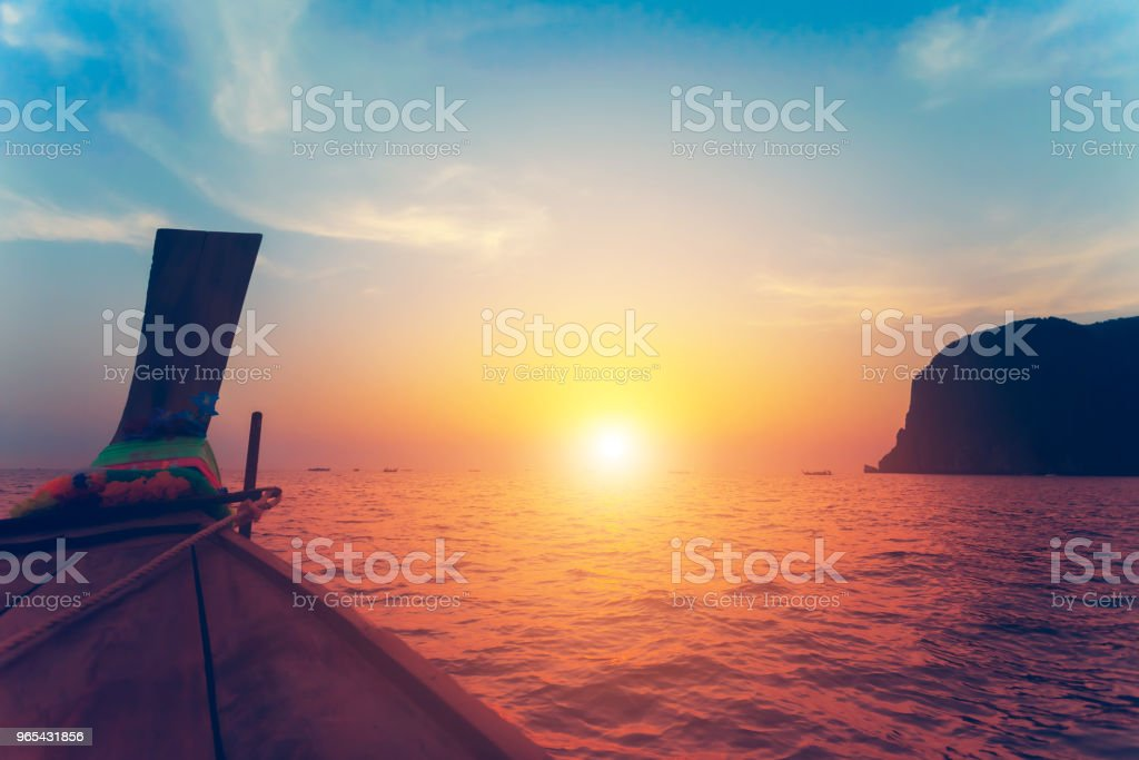 Close up image of the bow of the boat. Sunset royalty-free stock photo
