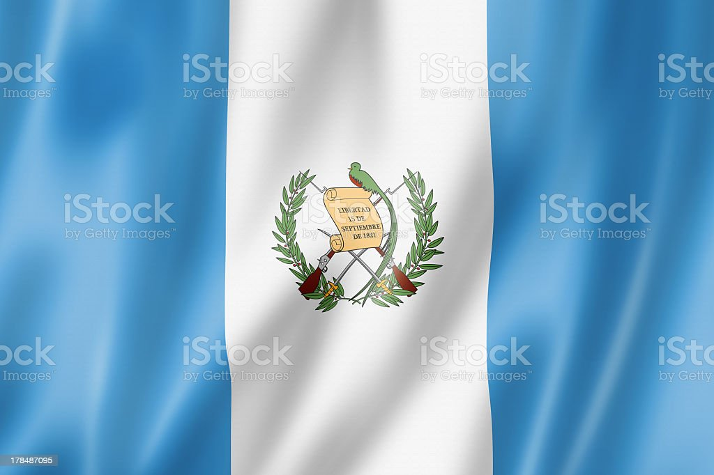 A close up image of the Guatemalan flag stock photo