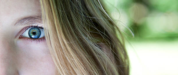 Close up Image of Young Woman's Blue Eye stock photo