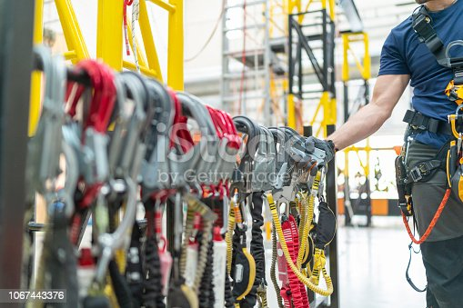 istock Close up industrial climbing equipment 1067443376
