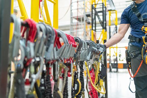 istock Close up industrial climbing equipment 1067443376