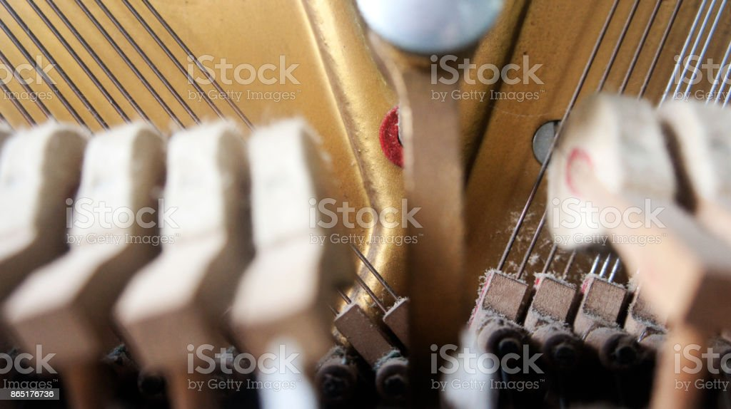 close up Inside of a piano stock photo