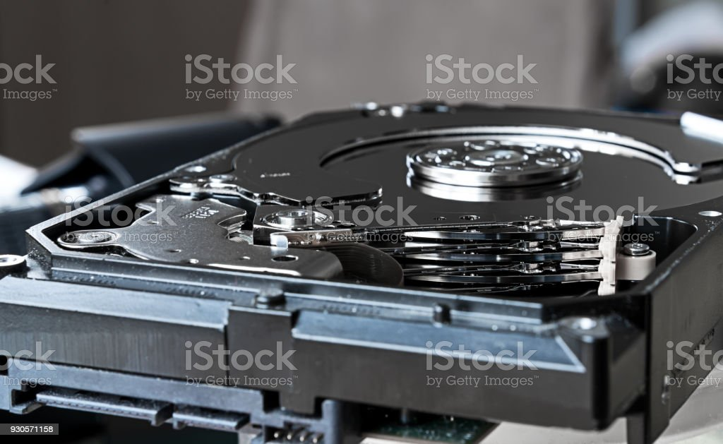 Close up inside of computer hard disk drive HDD