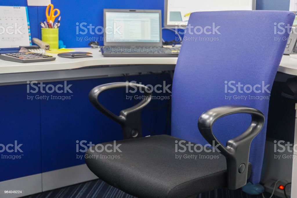 close up interior of office chair and desk for work - Royalty-free Armchair Stock Photo