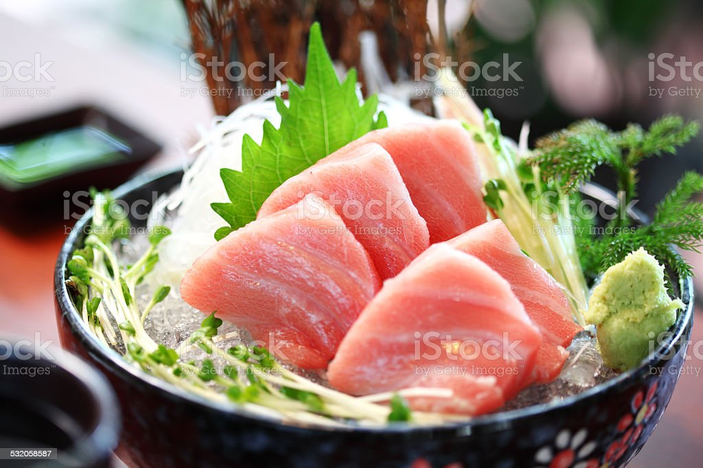 close up japanese food from tuna stock photo