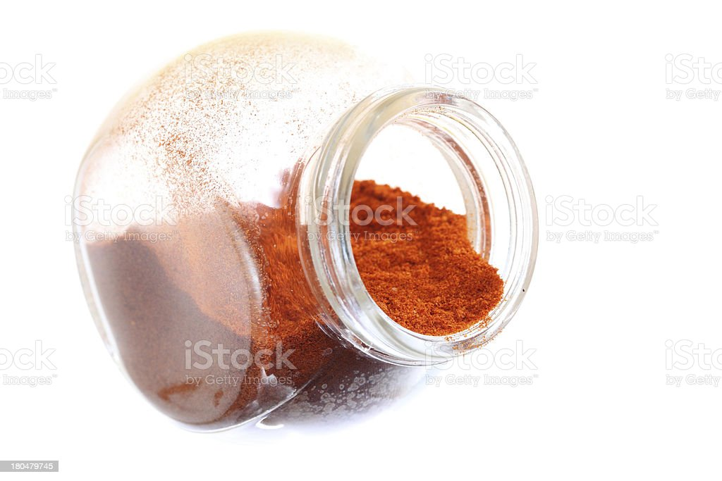 Close up jar with paprika spice isolated royalty-free stock photo