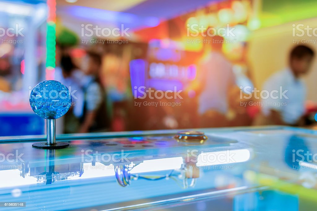 Close up Joystick of arcade.,Vintage tone,Close up Joystick stock photo
