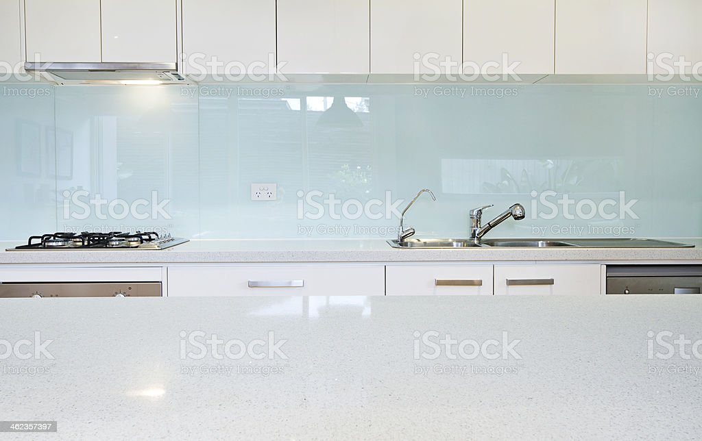 Close up kitchen splashback bench stock photo