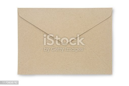 istock Close up Kraft Paper envelope isolated on white background with clipping path. Kraft Paper envelope di cut with path simply use to create your any design. 1170608762