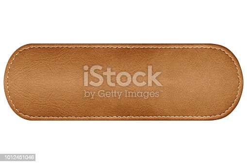 close up label leather isolated on white background