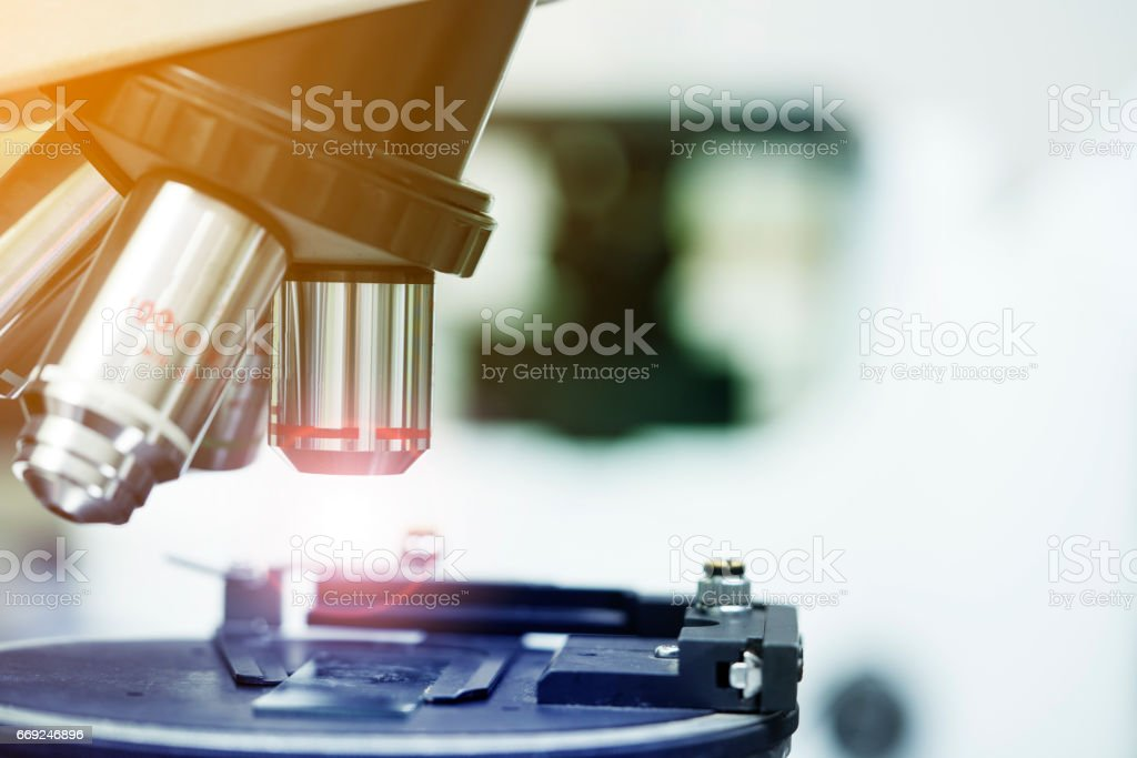 close up laboratory microscope, science and research concept stock photo