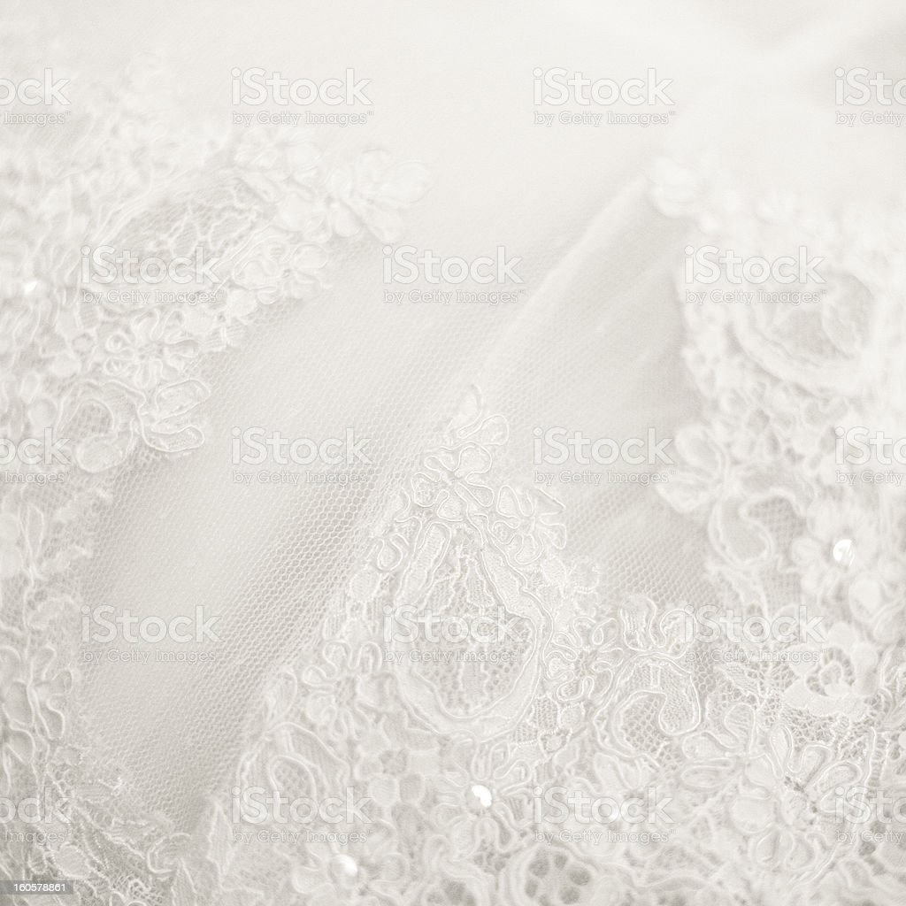 Close up lace detail, wedding dress pattern stock photo