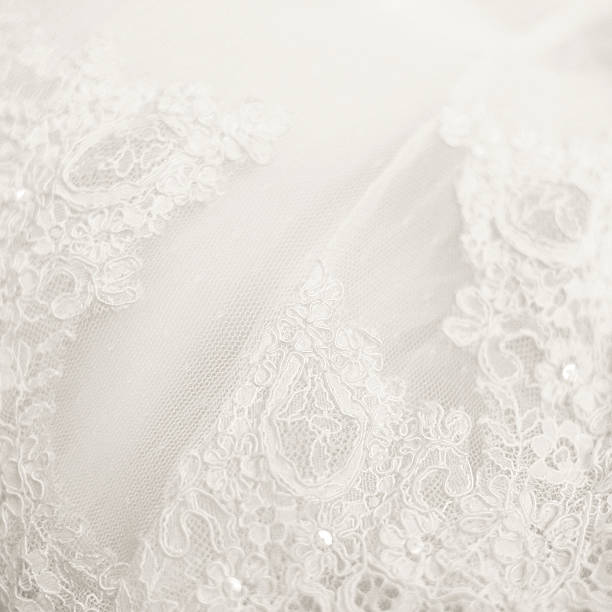 Close up lace detail, wedding dress pattern Lace detail from a wedding dress perfect for backgrounds lace textile stock pictures, royalty-free photos & images