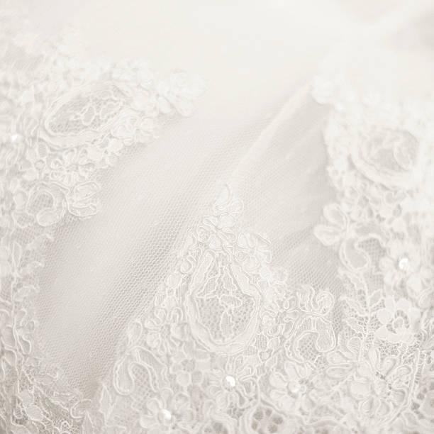 Close up lace detail, wedding dress pattern stock photo