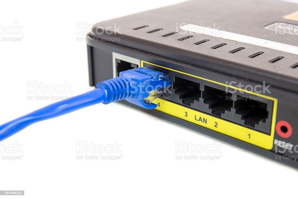 Close up LAN UTP RJ45 Cat5e connect to ADSL  stock photo