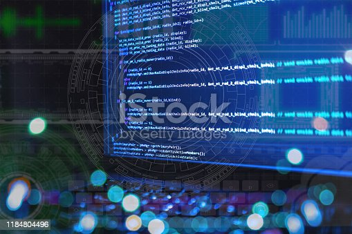 close up laptop computer screen with programming code creating