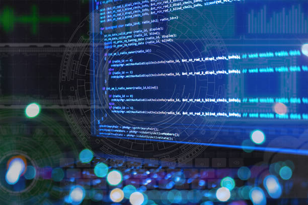 close up laptop computer screen with programming code creating stock photo